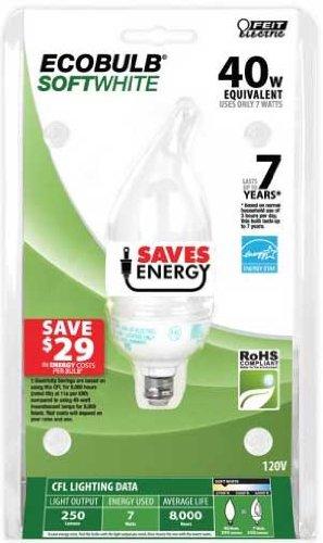 - Feit Electric BPESL7F 40-Watt Equivalent Decorative CFL Bulb