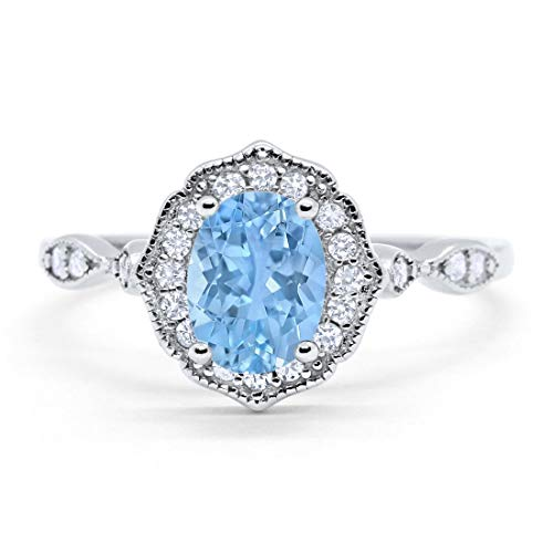 Blue Apple Co. Art Deco Antique Style Wedding Engagement Ring Oval Round Simulated Aquamarine 925 Sterling Silver, Size-8