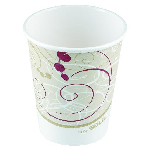 Solo Cup Paper Hot Cup, 10 oz., Polylined, Symphony Design, Beige/White, 50/Pack