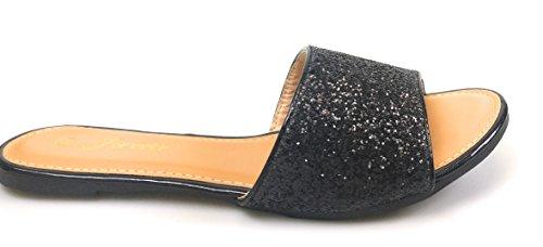 Evigt Kvinna Öppen Tå Rhinestone Förskönat Slid Platt Sandal Sko Flip Flops Toffel Svart Arabella-29