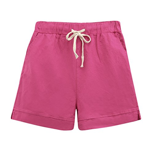Womens Linen Drawstring - Yknktstc Womens Elastic Waist Cotton Linen Casual Beach Shorts with Drawstring US 12 Rose Red