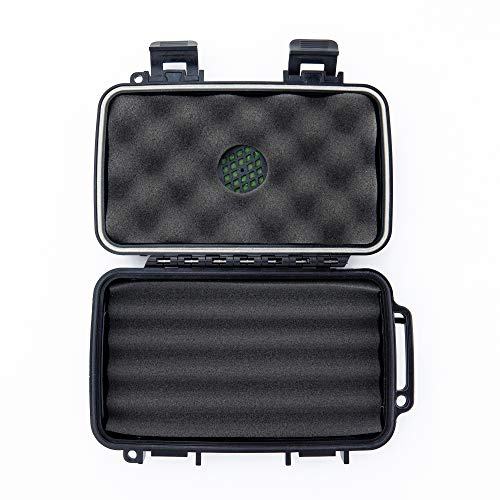 (Sir Drake's Hard Plastic Travel Humidor Cigar Case - Premium Rugged Hard Shell Case - Built in Foam Humidor and Holds Up to 5 Cigars (4