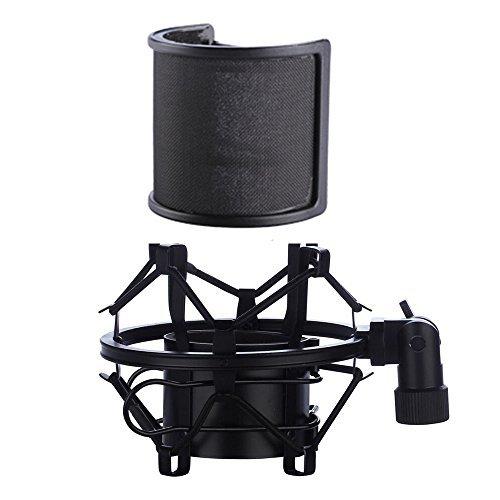 Soporte de micrófono con amortiguador, con filtro antipop, antivibración, de suspensión, clip de sujeción para micrófono...