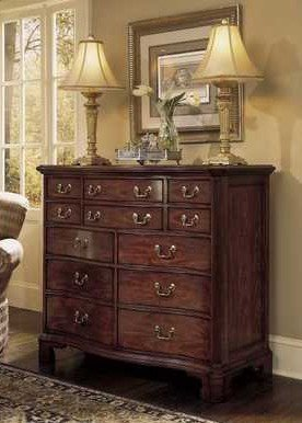 American Drew Cherry Grove 12 Drawer Double Dresser In Antique Cherry