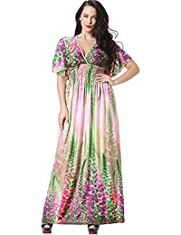 2629584ee Women's Boho Long Maxi Dress Bat Sleeve Sundress Plus Size Dresses