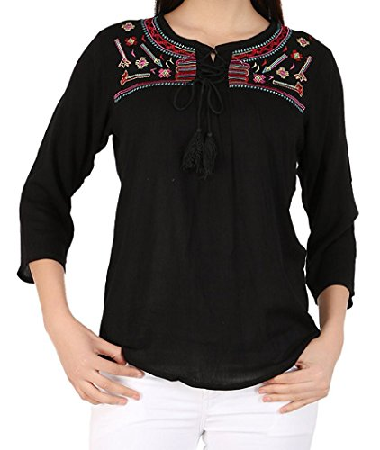 8550040b007d3 Triumphin Women s Cotton Embroidered Casual Tops
