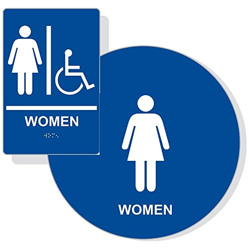 ADA Womens Restroom Sign Paired Set , Braille Sign+Door Sign, ADA Compliant (Blue) - Paired Set