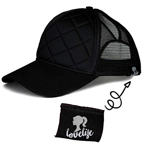 LoveLife Quilted Ponytail Baseball Hats (Black) by LoveLife (Image #5)