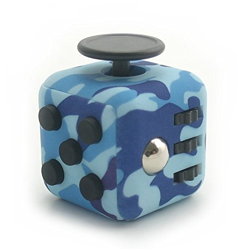 Sunsine Fidget Cube Anti-Stress/Anti-anxiety and Depression for Children, Teen, Student, Adult, Active Dice Stress Reliever for Work, School, Class (Camouflage Blue)