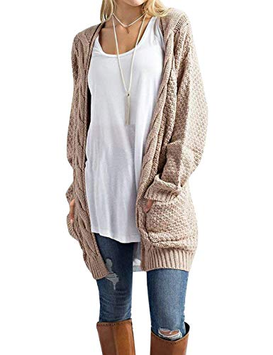 (Traleubie Women's Loose Casual Long Sleeved Open Front Breathable Cardigans Sweater with Pocket Light Pink L )