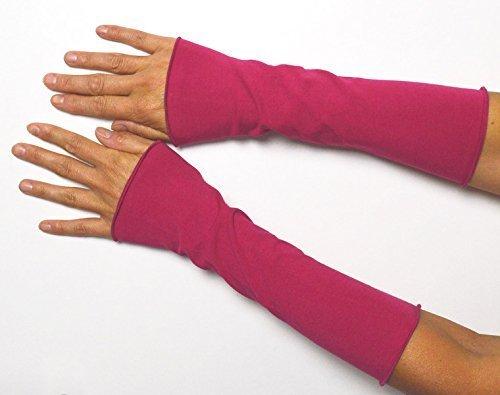 Lange Sommer Stulpen Baumwolle pink 25 cm