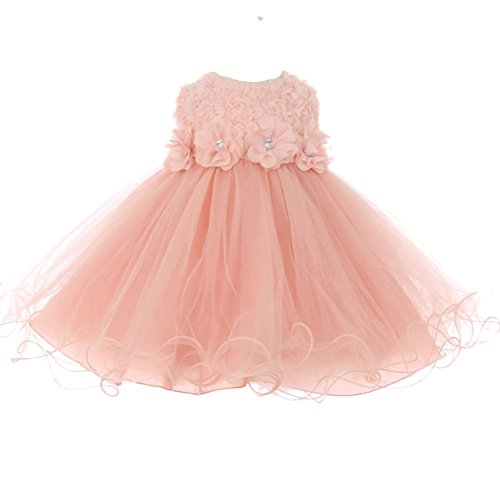 - Baby Girls Blush Sparkle Jewel Centered Flower Adorned Easter Dress 18M