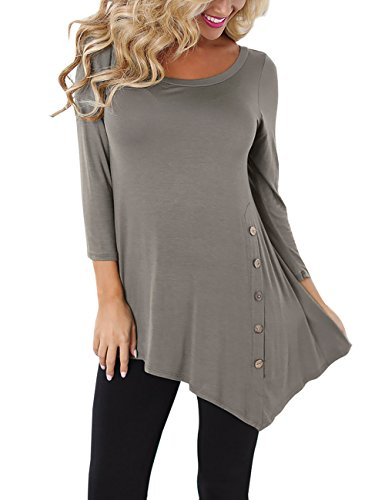 Slivexy Round Neck Asymmetric Tunic Tops, Women's 3/4 Sleeves Decorative Buttons Shirt Grey (Asymmetric Button)