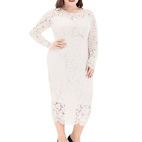 New Eternatastic Women's Floral Lace Long Sleeve Plus Size Lace Dress Red for sale