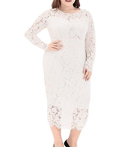 5096cf67831 Eternatastic Women s Floral Lace Long Sleeve Plus Size Lace Dress White1 3XL