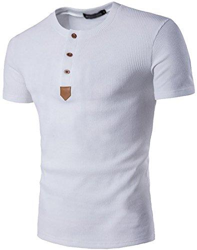 Cruiize Mens Casual Short Sleeve T-Shirt Tops Crewneck Henley Shirts White Small