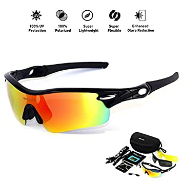 4ccc684906 HONCENMAX Gafas de Sol Deportivas Polarizadas Protección UV400 para Hombres  Mujeres Ciclismo Equitación Corriendo Pescar Gafas de Golf - con 3 Lentes  ...