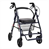 Foldable Walking Mobility Aid/Walker/Rollator/Shopping cart Trolley with Seat and Handbrake,for Elderly