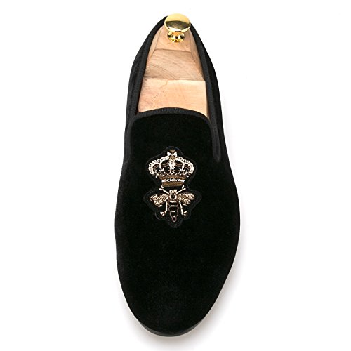 Slipper Smoking Silk Loafer Men's amp;HANN Velvet Loafer HI Bees on Slip Toes Shoes Round Embroidery Indian 6wqRxZx