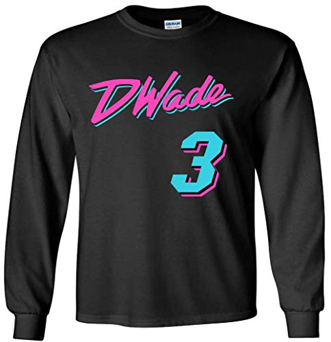 KINGSTON SHIRTS Long Sleeve Black Miami Wade Vice City T-Shirt Adult