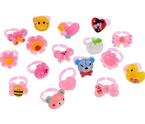 Zhahender Little Girls Accessory Jewellery Toy Approx.50 Pcs/Set Children's Resin Plastic Box Gift Cartoon Ring Suit(Cartoon Animals) by Zhahender