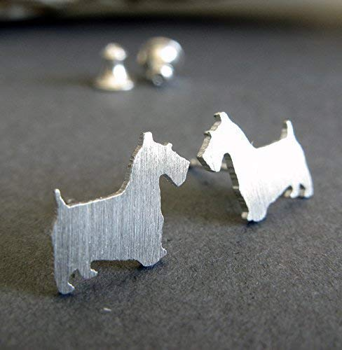Scottish Terrier Scottie dog tiny stud earrings brushed sterling silver post jewelry. Handmade in the USA.
