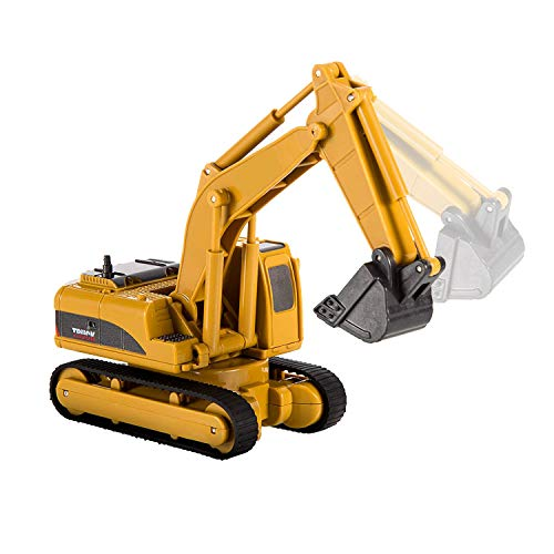 (QUN FENG RC Construction Truck Toy Car Excavator Rechargeable Mini Remote Control Tractor Caterpillar Construction Vehicle 4 Channel Model Car for 2 Years Old boy Kids and Adults Gift)