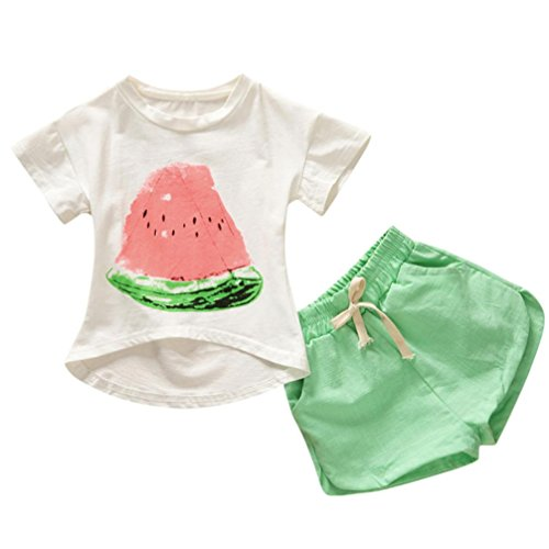 Moonker 2pcs Toddler Baby Girls Kids Clothes Set Watermelon Tops Short Sleeve T-Shirt Tees +Shorts Outfits 1-6Yr (4-5 Years Old, Green) from Moonker