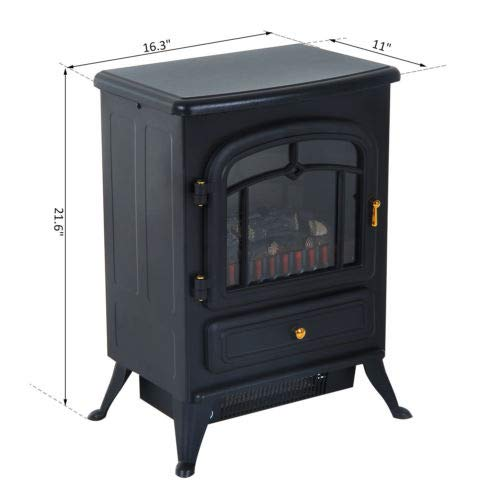 Cheap Walomes 750W /1500W Adjust Electric Fireplace Free Standing Heater Wood Fire Flame Stove Black Friday & Cyber Monday 2019