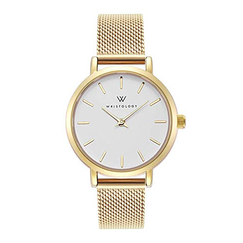 WRISTOLOGY Charlotte Petite Womens Watch Gold Metal Mesh Ladies Changeable Strap Band