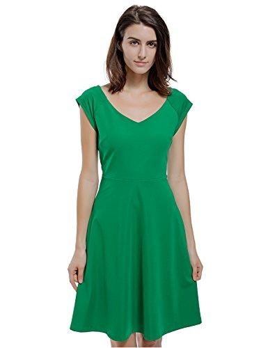 Blooming Jelly Women's V Neck Cap Sleeve Vintage 50s Swing Dress (M, (Cap Sleeve Vintage Cap)