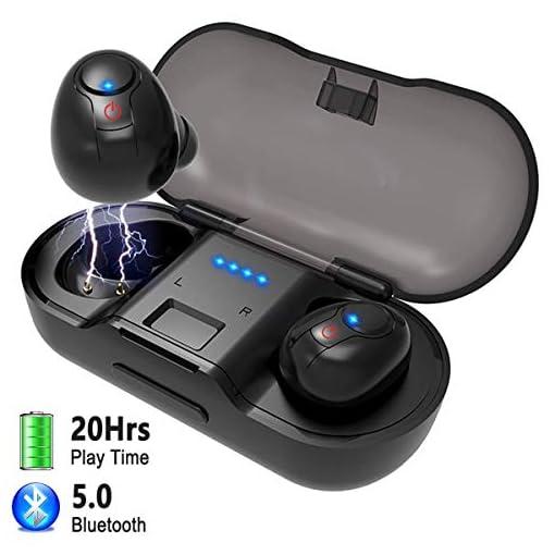 Auricolari Wireless Cuffie,FODLON TWS Bluetooth 5.0 Stereo Auricolari Bluetooth Fili in Ear con Scatola Ricarica e Microfono Incorporat compatibili con Siri per iPhone, Samsung, Huawei,iPad(Nero)