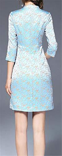 Floral Printed Cromoncent Retro Dresses Neck Stand Blue Bodycon Irregular Women Cheongsam RqU1UpW