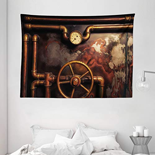 "Ambesonne Industrial Tapestry, Steam Pipes and Pressure Gauger Vintage Style Damaged Timeworn Engine, Wide Wall Hanging for Bedroom Living Room Dorm, 80"" X 60"", Orange Bronze"