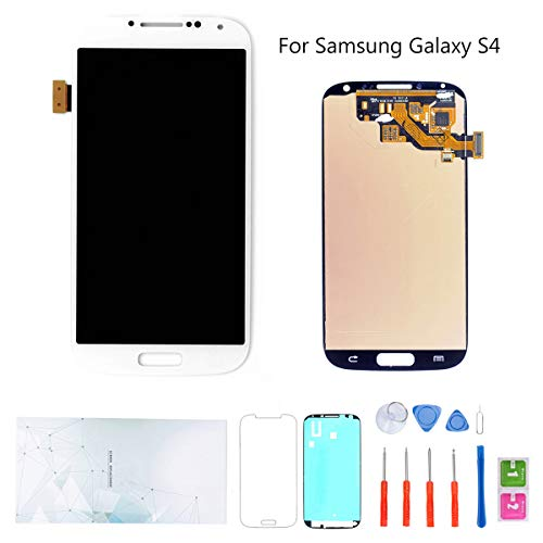 Kosuroum Screen Replacement for Samsung Galaxy S4 i9500 i9505 i337 M919 LCD Glass Display Touch Digitizer Assembly Tools (White)