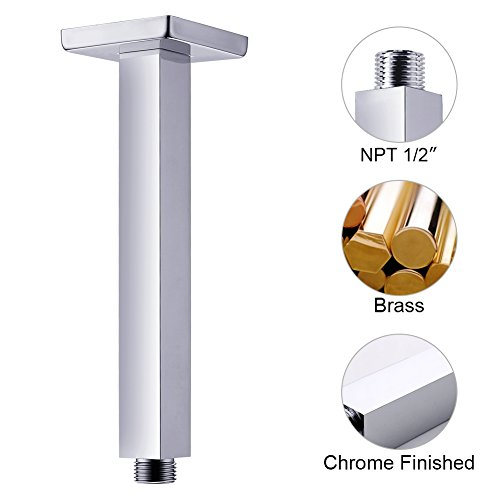 SR SUN RISE ARY002 Shower Arm Square 7.9 Inch 200mm Ceiling Mounted Arm of Solid Brass Chrome Finish (Finish Sunrise)