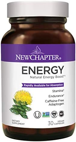 Natural Energy Supplement, New Chapter Energy Supplement with Rhodiola 300 for Stamina Endurance, Caffeine-Free Gluten Free – 30ct 1 Month Supply