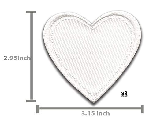 Iron On Patches White Heart Patch 7 pcs Iron On Patch Embroidered Applique A-194