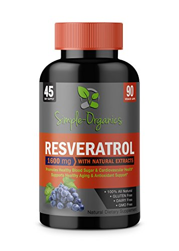 Resveratrol 1600mg Serving- 100% Organic, Pure Extra Strength Complex With Organic Trans-Resveratrol - Anti-aging, Radiant Skin, Blood Sugar and Immunity Support- 30 Day Supply