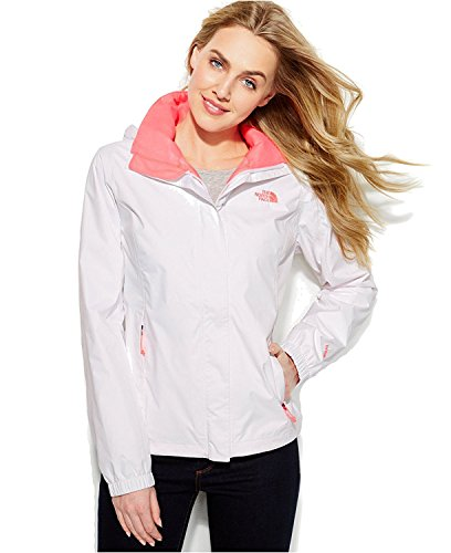 North Face Running Jacket (The North Face Jacket, Resolve Zip-Up Waterproof TNF White/Sugary Pink (Large))