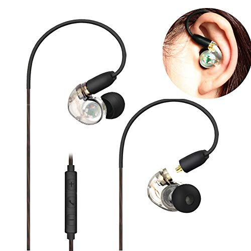 Daioolor EP187 Wired Musician Earbuds in Ear Monitor Earphones with Microphone Volume Control for Sport, Singer, Running (Transparent White)