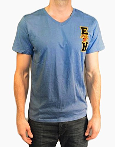 Ed Hardy Premium Men's T Shirt Tiger Letter on the Back, Baby Blue, Large