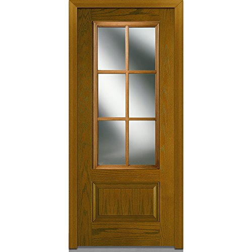National Door Company Z000246R In-Swing Entry Door, Prehung Right Hand, Classic Clear Glass with SDL, 3/4 Lite, 1-Panel, Fiberglass Oak, 36'' x 80'' by National Door Company