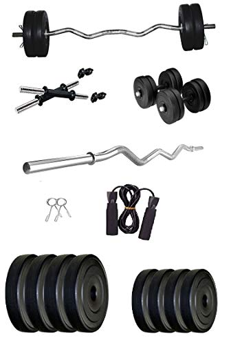 Aurion Home Gym Weight Lifting Pack 16 Kg with 3 Rods + Skipping Rope Complete Fitness Kit