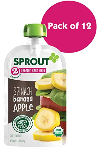 Sprout Organic Stage 2 Baby Food Pouches, Spinach Banana Apple, 3.5 Ounce (Pack of 12)