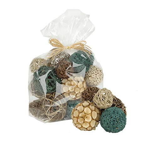 Home Decor Accent Balls | Variety of Orb Colors, Style and Sizes in Set | Fill Decorative Vases, Bowls or Hurricanes - DECORATIVE ORBS- Features assorted orbs in a variety of sizes and colors. Bright colorful orbs in turquoise, brown, tan, and ivory DIY HOME DECOR - These Orbs Vase Fillers are handmade, elegant, and classic. Crafted of dried natural materials. These botanicals pieces of perfect for a natural touch to your home. VERSATILE USE APPLICATIONS - Perfect as table centerpieces, vase bowl fillers, craft supplies, wedding, hurricans, party and house decorations, flower arrangements. Suitable for all kinds of craft projects of design creations - living-room-decor, living-room, home-decor - 41Su2ICSPeL -