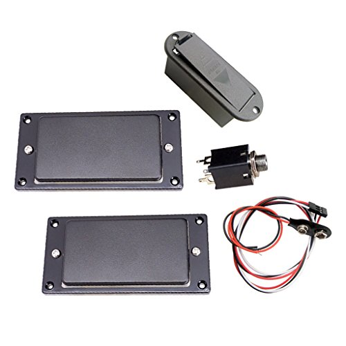 (MonkeyJack Active Pickup Battery Cover Humbucker Pickups for 6-String Electric Guitars )