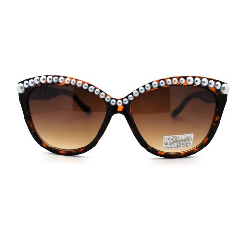 Giselle Womens Thick Plastic Pearl Bead Brow Cat Eye Diva Sunglasses - Diva Glasses