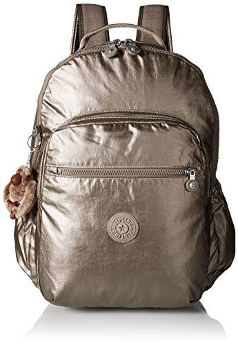 Kipling Seoul Go Laptop, Padded, Adjustable Backpack Straps, Zip Closure, Metallic Pewter