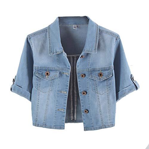 Women Summer Short Sleeve Blue Denim Jacket Short Cropped Sunscreen Shawl XL